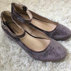 Torrid Velvet Block Heel Purple Mary Jane
